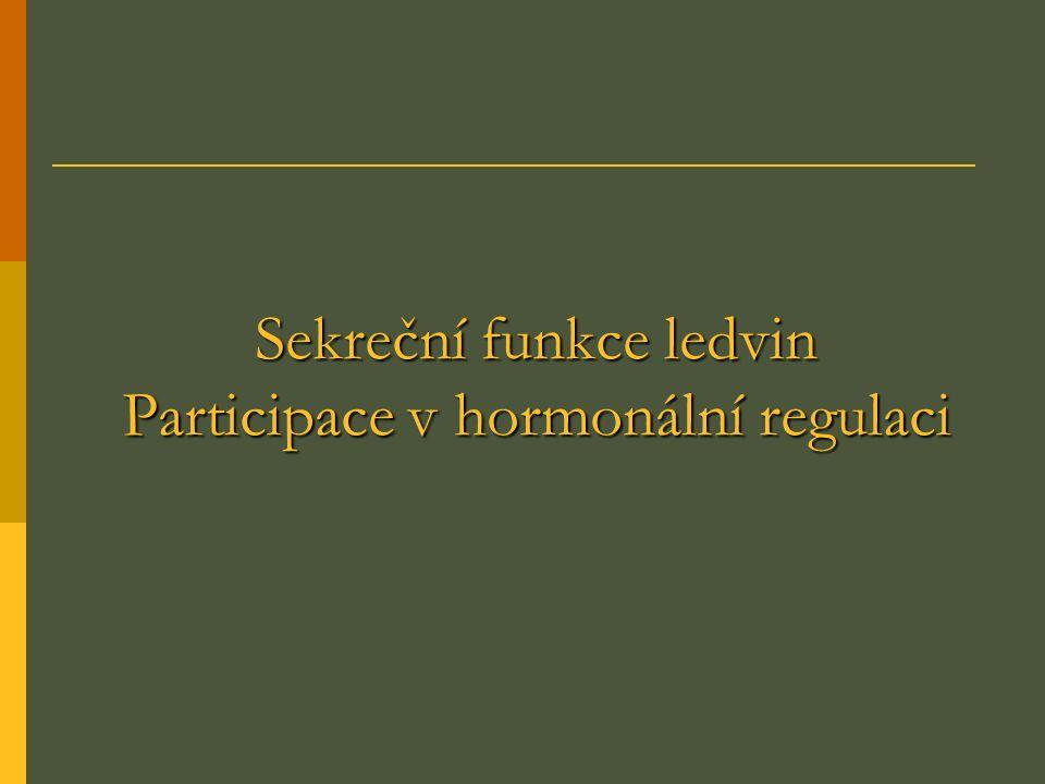 Sekreční funkce ledvin Participace v hormonální regulaci
