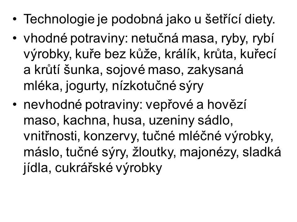 Technologie je podobná jako u šetřící diety.