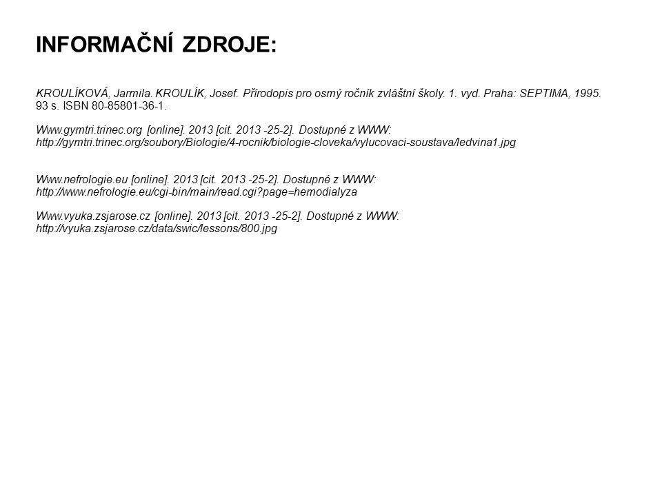 INFORMAČNÍ ZDROJE: KROULÍKOVÁ, Jarmila. KROULÍK, Josef. Přírodopis pro osmý ročník zvláštní školy. 1. vyd. Praha: SEPTIMA, 1995. 93 s. ISBN 80-85801-3