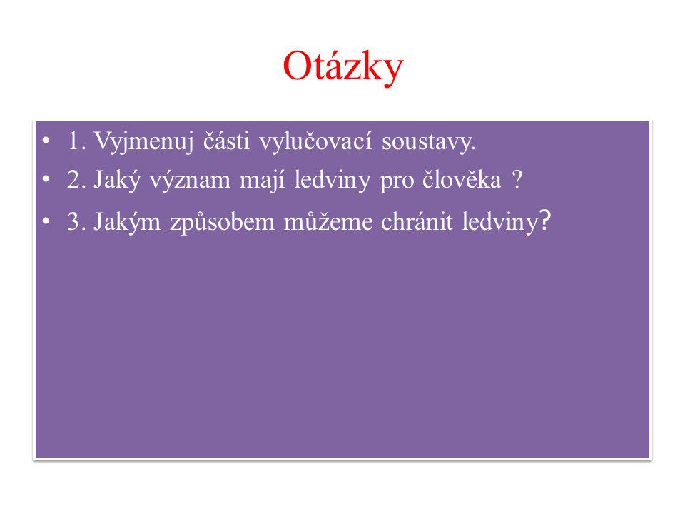 Otázky 1. Vyjmenuj části vylučovací soustavy. 2. Jaký význam mají ledviny pro člověka ? 3. Jakým způsobem můžeme chránit ledviny ? 1. Vyjmenuj části v
