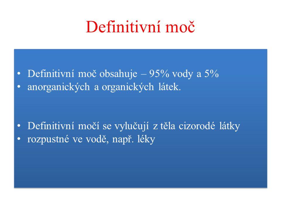 Definitivní moč Definitivní moč obsahuje – 95% vody a 5% anorganických a organických látek. Definitivní močí se vylučují z těla cizorodé látky rozpust