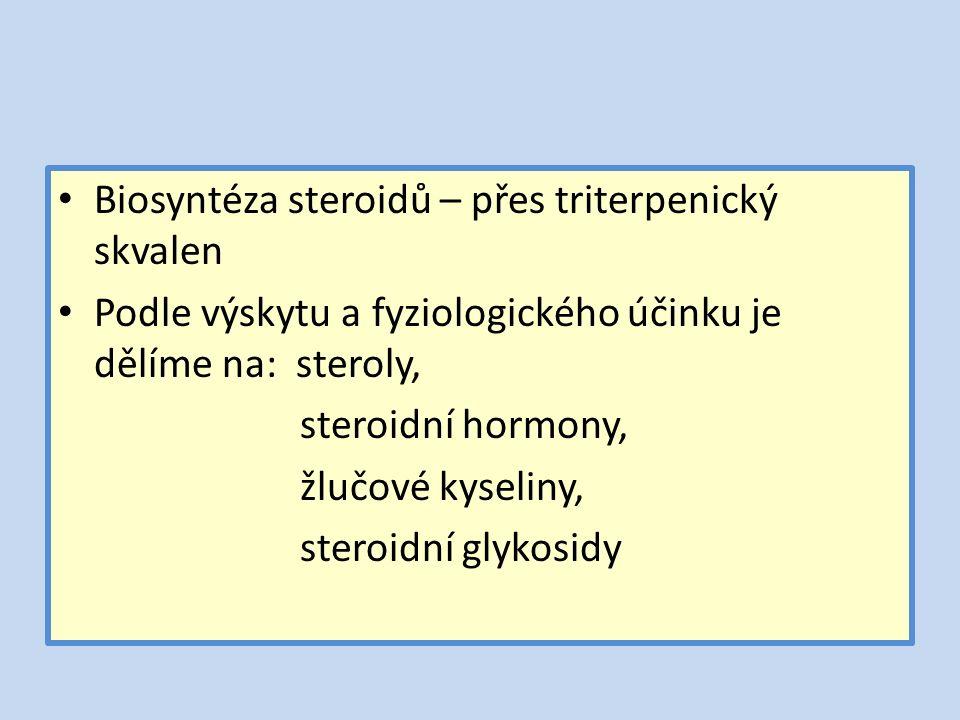 Biosyntéza steroidů – přes triterpenický skvalen Podle výskytu a fyziologického účinku je dělíme na: steroly, steroidní hormony, žlučové kyseliny, steroidní glykosidy