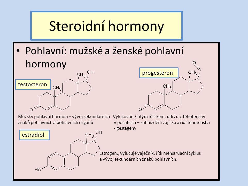 Steroidní hormony Pohlavní: mužské a ženské pohlavní hormony progesteron estradiol testosteron Mužský pohlavní hormon – vývoj sekundárních znaků pohlavních a pohlavních orgánů Vylučován žlutým tělískem, udržuje těhotenstvi v počátcích – zahnízdění vajíčka a řídí těhotenství - gestageny Estrogen,, vylučuje vaječník, řídí menstruační cyklus a vývoj sekundárních znaků pohlavních.