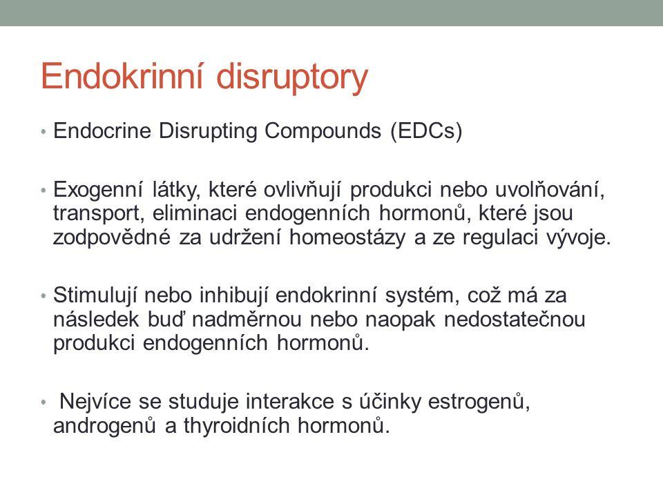 Endokrinní disruptory Endocrine Disrupting Compounds (EDCs) Exogenní látky, které ovlivňují produkci nebo uvolňování, transport, eliminaci endogenních