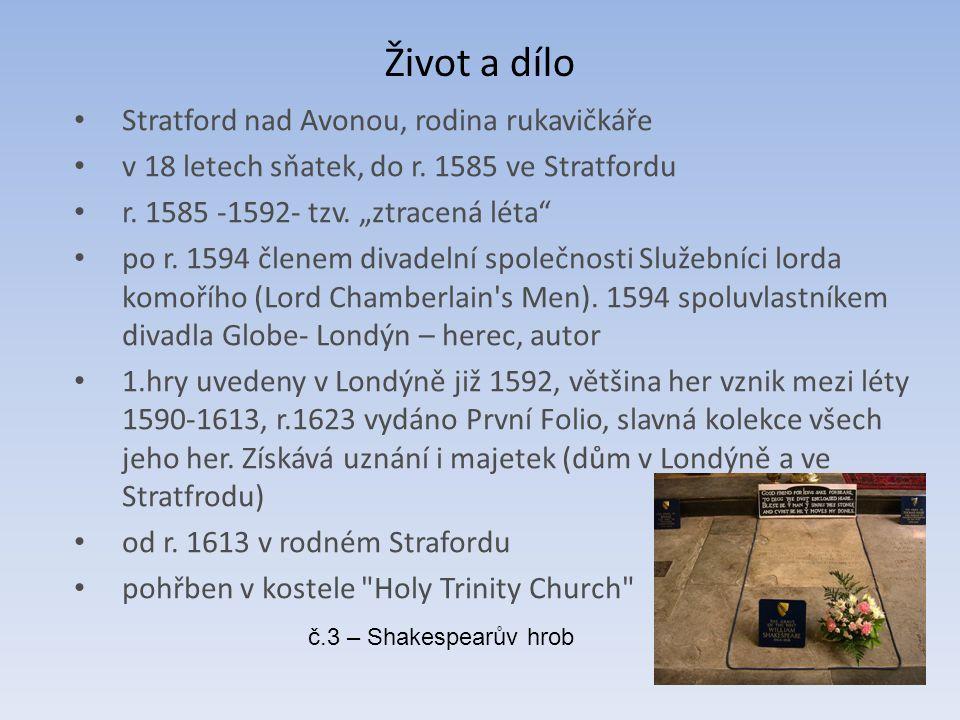 """Život a dílo Stratford nad Avonou, rodina rukavičkáře v 18 letech sňatek, do r. 1585 ve Stratfordu r. 1585 -1592- tzv. """"ztracená léta"""" po r. 1594 člen"""