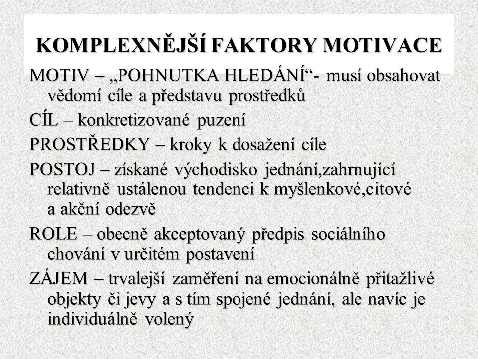 """KOMPLEXNĚJŠÍ FAKTORY MOTIVACE MOTIV – """"POHNUTKA HLEDÁNÍ""""- musí obsahovat vědomí cíle a představu prostředků CÍL – konkretizované puzení PROSTŘEDKY – k"""