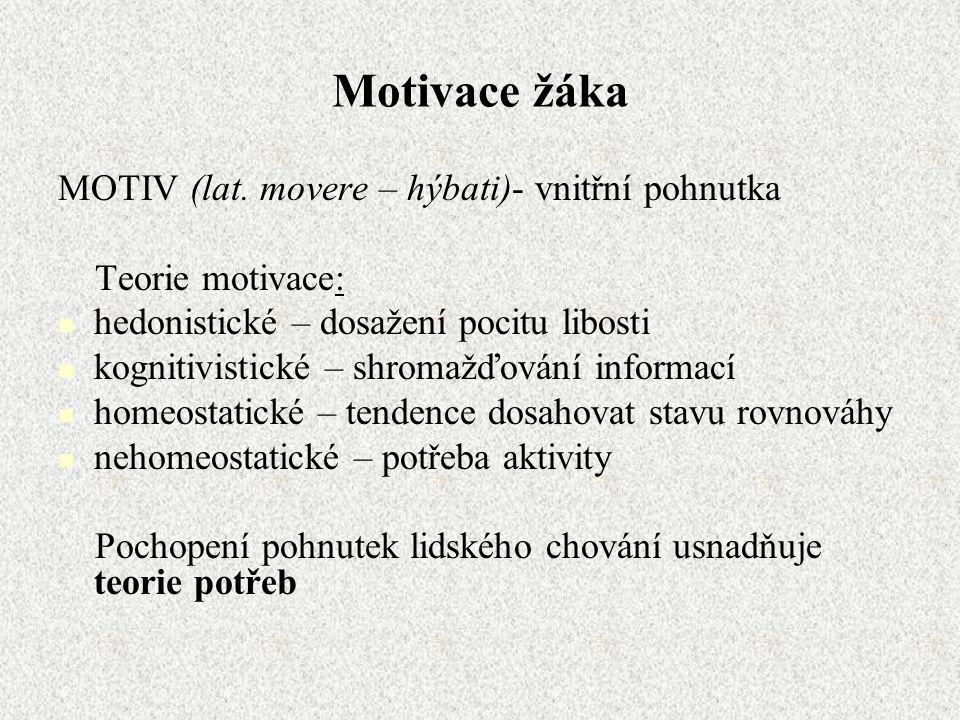 Motivace žáka MOTIV (lat. movere – hýbati)- vnitřní pohnutka Teorie motivace: hedonistické – dosažení pocitu libosti kognitivistické – shromažďování i