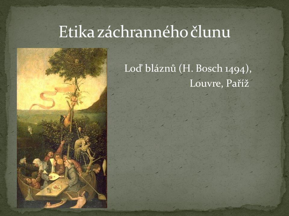 Loď bláznů (H. Bosch 1494), Louvre, Paříž