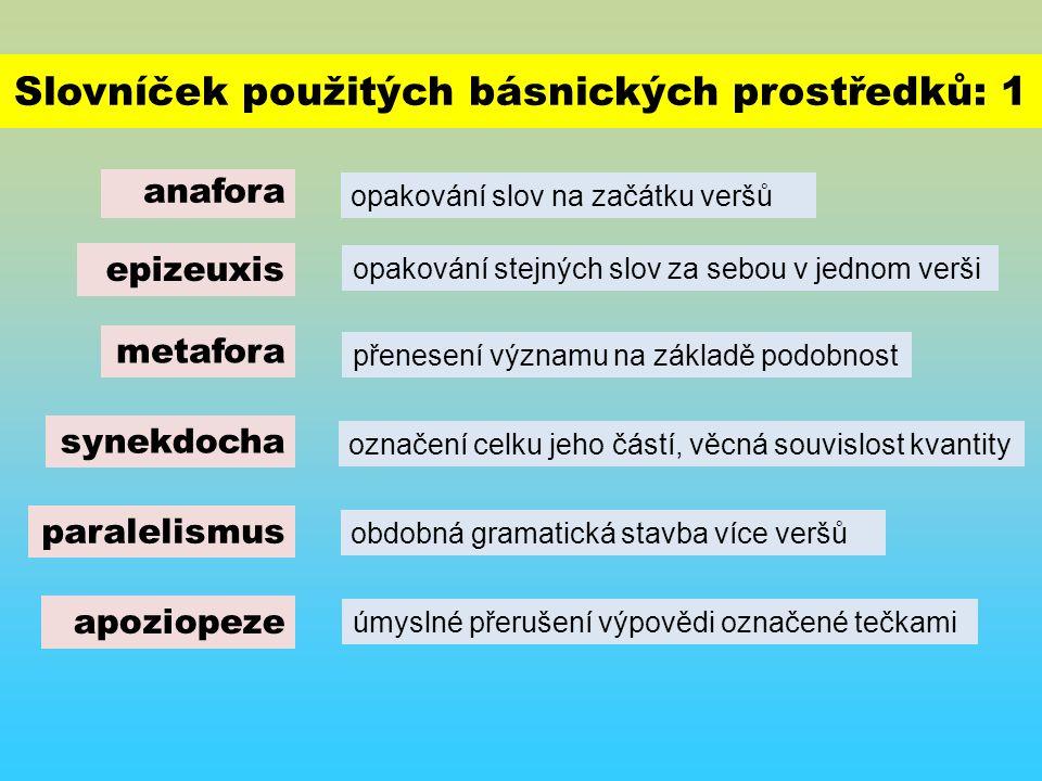 Slovníček použitých básnických prostředků: 1 anafora opakování slov na začátku veršů metafora epizeuxis synekdocha opakování stejných slov za sebou v