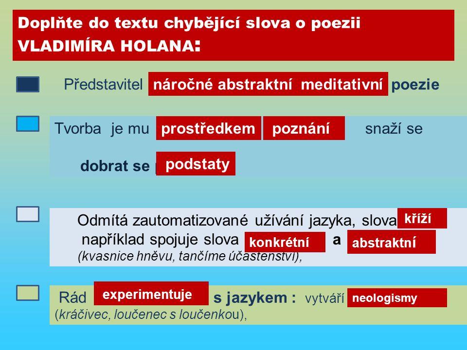 Doplňte do textu chybějící slova o poezii VLADIMÍRA HOLANA : Představitel n……….. a………….. m…………. poezie Odmítá zautomatizované užívání jazyka, slova k…