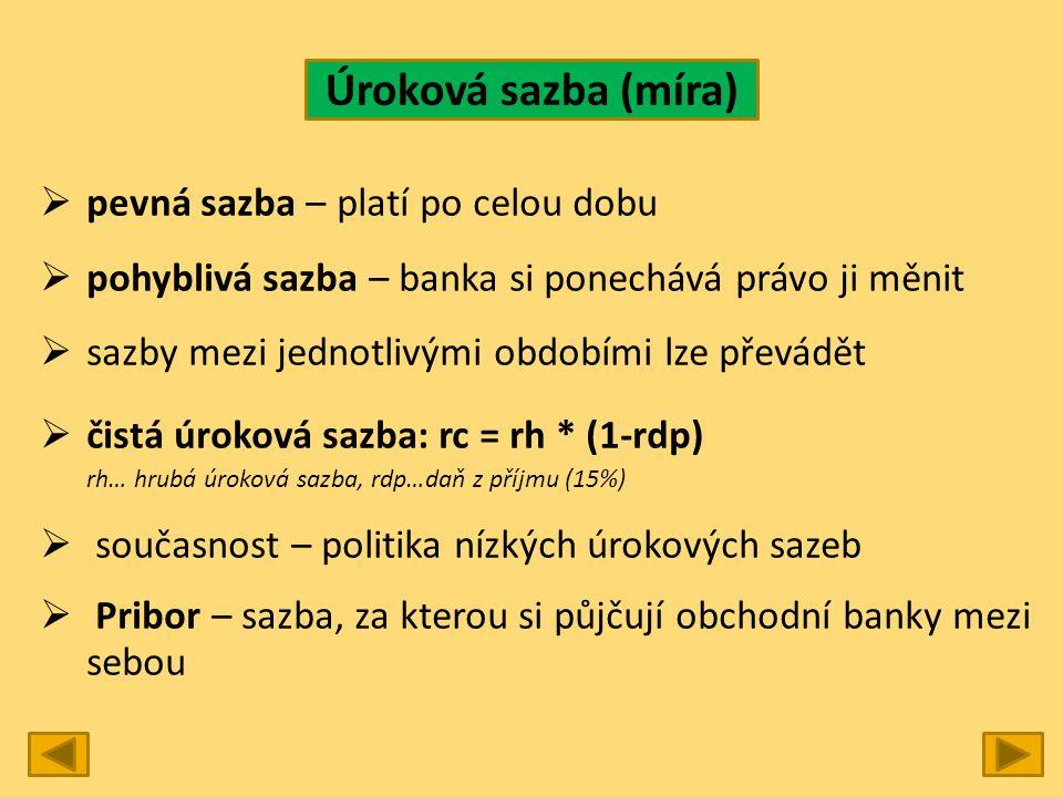 Úroková sazba (míra)  pevná sazba – platí po celou dobu  pohyblivá sazba – banka si ponechává právo ji měnit  sazby mezi jednotlivými obdobími lze