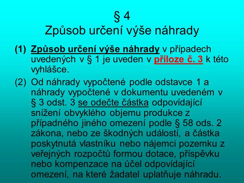 § 4 Způsob určení výše náhrady (1)Způsob určení výše náhrady v případech uvedených v § 1 je uveden v příloze č.