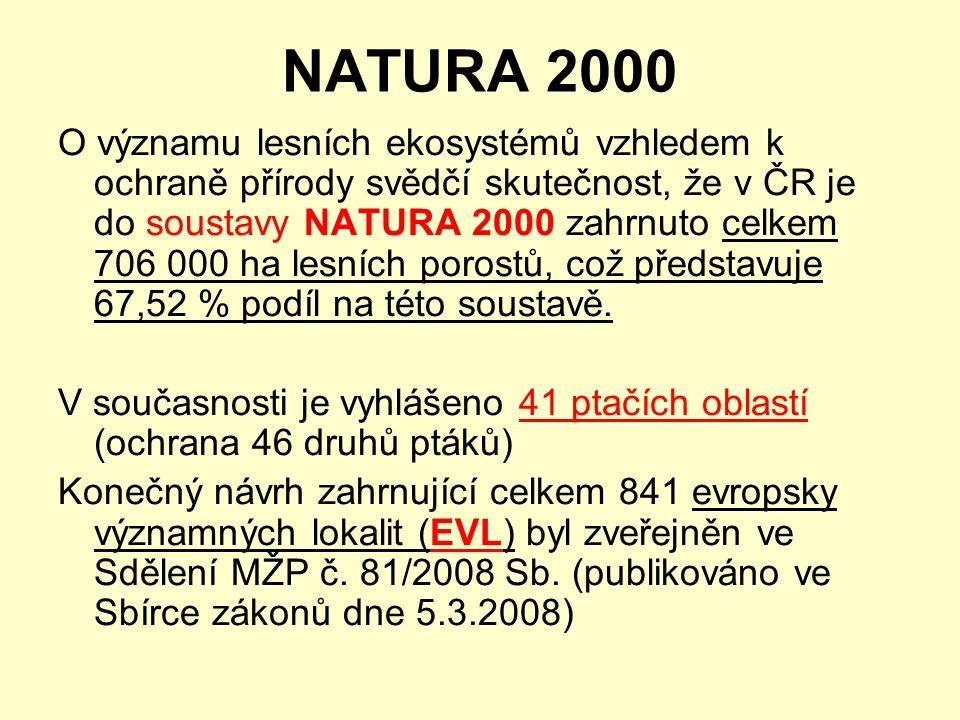 NATURA 2000 O významu lesních ekosystémů vzhledem k ochraně přírody svědčí skutečnost, že v ČR je do soustavy NATURA 2000 zahrnuto celkem 706 000 ha lesních porostů, což představuje 67,52 % podíl na této soustavě.
