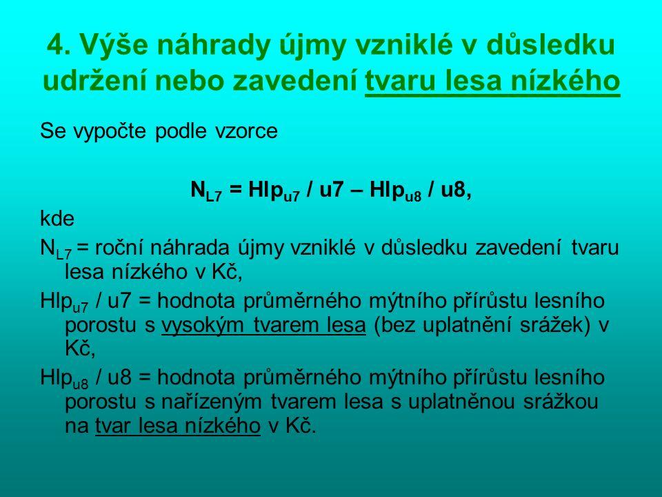 4. Výše náhrady újmy vzniklé v důsledku udržení nebo zavedení tvaru lesa nízkého Se vypočte podle vzorce N L7 = Hlp u7 / u7 – Hlp u8 / u8, kde N L7 =