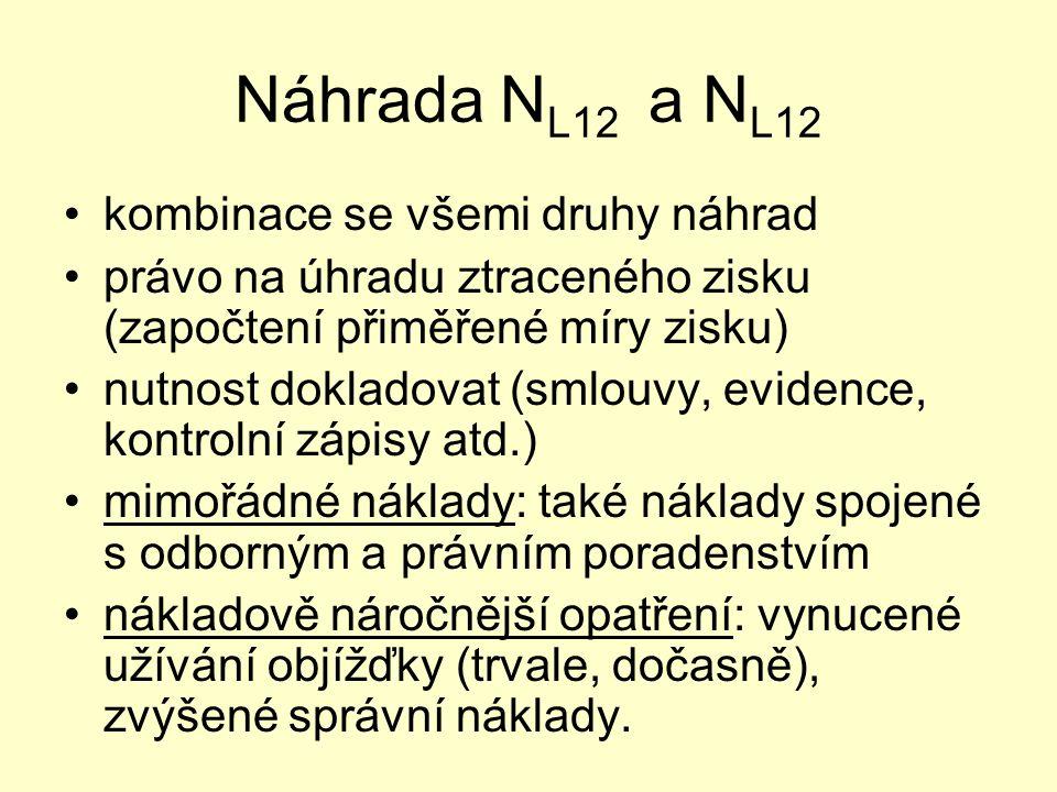 Náhrada N L12 a N L12 kombinace se všemi druhy náhrad právo na úhradu ztraceného zisku (započtení přiměřené míry zisku) nutnost dokladovat (smlouvy, e