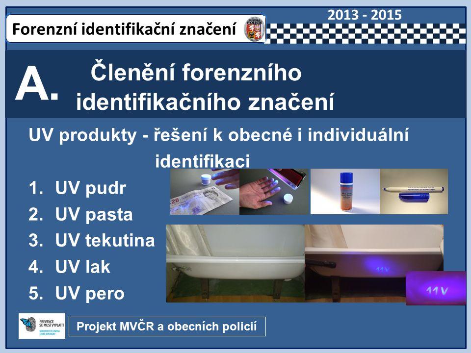 Nástrahové systémové řešení – řešení k obecné nebo individuální identifikaci 1.UV mast – pro exteriéry 2.UV gel – pro interiéry 3.UV sprejový systém 4.Výstražné tabule 5.Zákaznická řešení Členění forenzního identifikačního značení B.