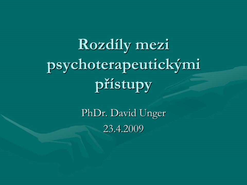 Rozdíly mezi psychoterapeutickými přístupy PhDr. David Unger 23.4.2009