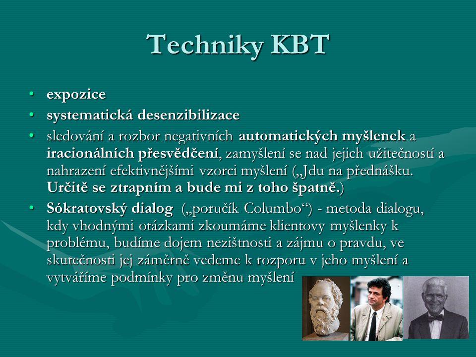 Techniky KBT expoziceexpozice systematická desenzibilizacesystematická desenzibilizace sledování a rozbor negativních automatických myšlenek a iracion