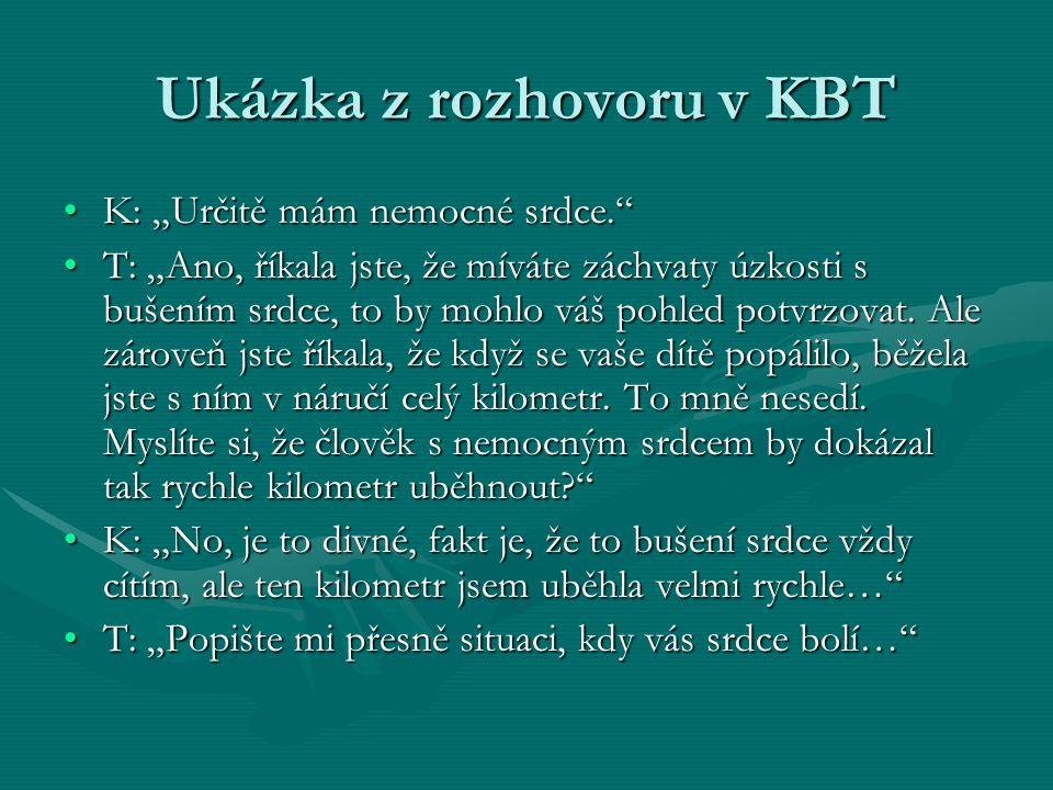 """Ukázka z rozhovoru v KBT K: """"Určitě mám nemocné srdce.""""K: """"Určitě mám nemocné srdce."""" T: """"Ano, říkala jste, že míváte záchvaty úzkosti s bušením srdce"""