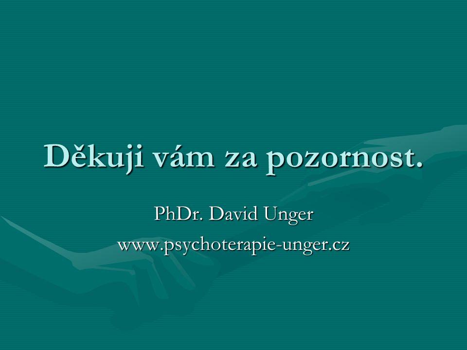 Děkuji vám za pozornost. PhDr. David Unger www.psychoterapie-unger.cz