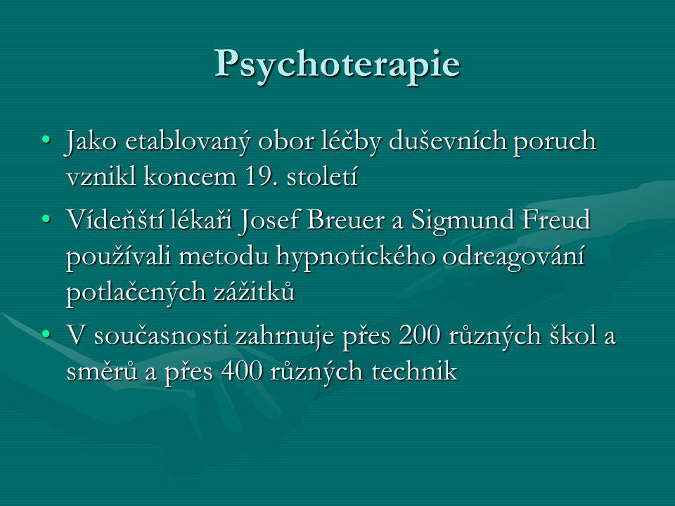 Psychoterapie Jako etablovaný obor léčby duševních poruch vznikl koncem 19. stoletíJako etablovaný obor léčby duševních poruch vznikl koncem 19. stole