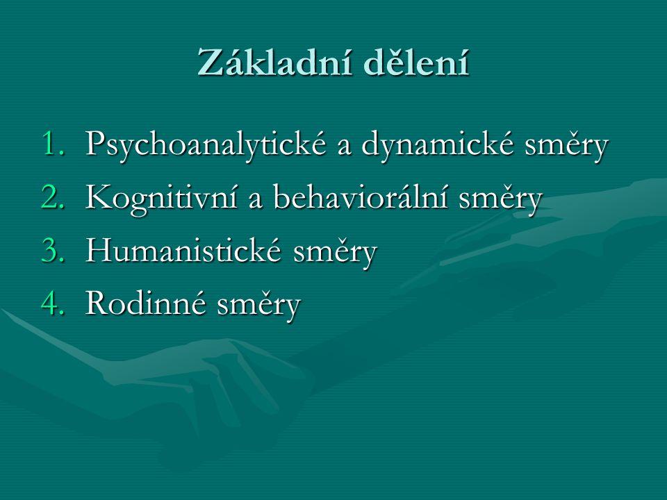 Základní dělení 1.Psychoanalytické a dynamické směry 2.Kognitivní a behaviorální směry 3.Humanistické směry 4.Rodinné směry