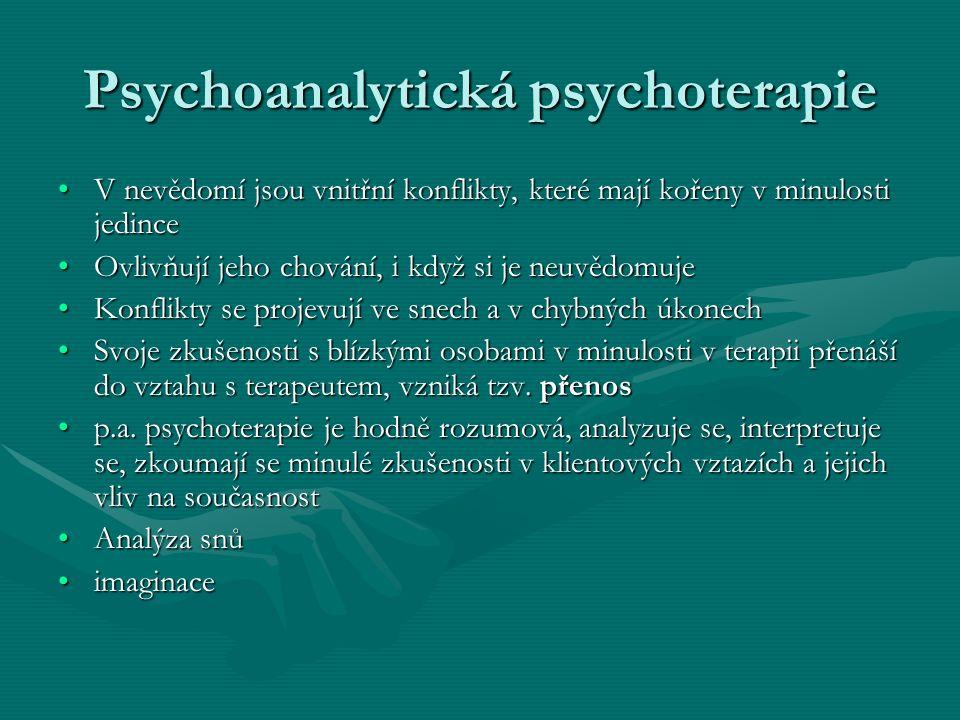 Psychoanalytická psychoterapie V nevědomí jsou vnitřní konflikty, které mají kořeny v minulosti jedinceV nevědomí jsou vnitřní konflikty, které mají k