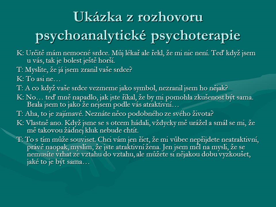 Ukázka z rozhovoru psychoanalytické psychoterapie K: Určitě mám nemocné srdce. Můj lékař ale řekl, že mi nic není. Teď když jsem u vás, tak je bolest