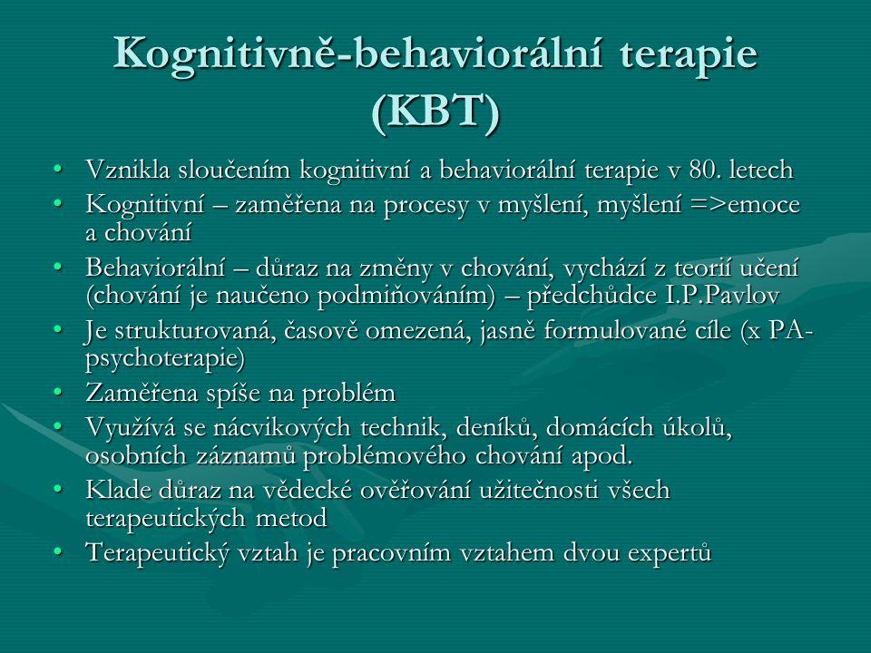 Kognitivně-behaviorální terapie (KBT) Vznikla sloučením kognitivní a behaviorální terapie v 80. letechVznikla sloučením kognitivní a behaviorální tera