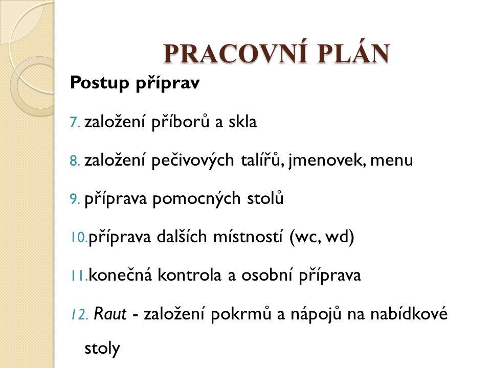 PRACOVNÍ PLÁN Postup příprav 7. založení příborů a skla 8. založení pečivových talířů, jmenovek, menu 9. příprava pomocných stolů 10. příprava dalších