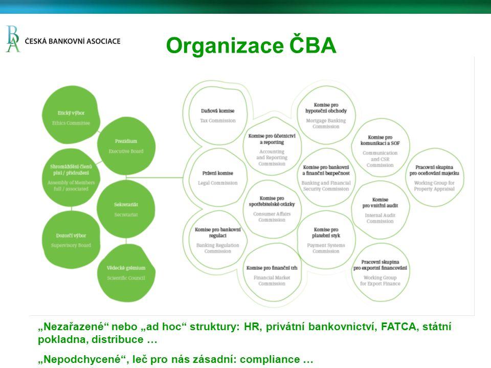 Strategie ČBA ČBA nejen jako reprezentant zájmů bankovní industrie, ale též Expert, Stratég, Partner a Opinion Maker Zásadní význam principu společenské odpovědnosti, ambice stát se významným přispěvatelem k zásadním společenským tématům Příklad strategických témat: –Penzijní reforma –Vybrané problémy a vyhlídky českého trhu práce –Růst státního dluhu, rizika pro ekonomiku, podniky, občany i finanční sektor –Analýza konkurenceschopnosti české ekonomiky –Fiskální odpovědnost (fisk.