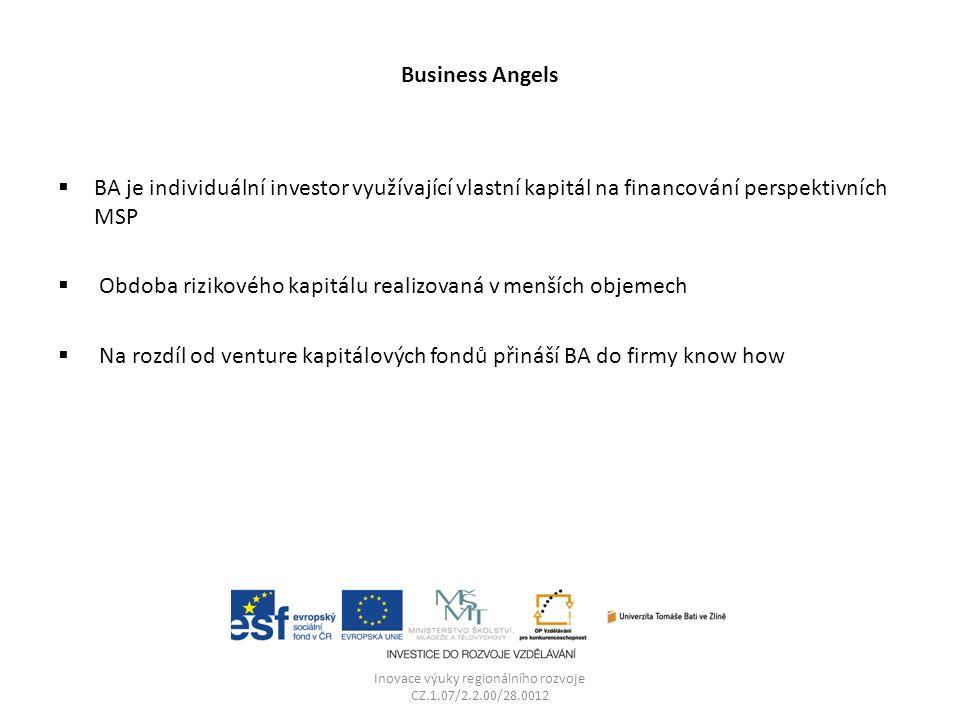 Business Angels  BA je individuální investor využívající vlastní kapitál na financování perspektivních MSP  Obdoba rizikového kapitálu realizovaná v menších objemech  Na rozdíl od venture kapitálových fondů přináší BA do firmy know how Inovace výuky regionálního rozvoje CZ.1.07/2.2.00/28.0012