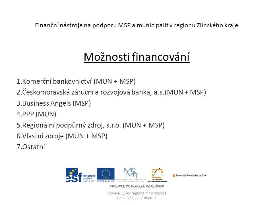 Finanční nástroje na podporu MSP a municipalit v regionu Zlínského kraje Možnosti financování 1.Komerční bankovnictví (MUN + MSP) 2.Českomoravská záruční a rozvojová banka, a.s.(MUN + MSP) 3.Business Angels (MSP) 4.PPP (MUN) 5.Regionální podpůrný zdroj, s.r.o.