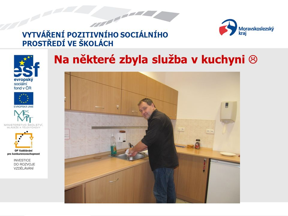 VYTVÁŘENÍ POZITIVNÍHO SOCIÁLNÍHO PROSTŘEDÍ VE ŠKOLÁCH Na některé zbyla služba v kuchyni 
