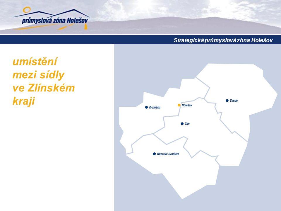 Strategická průmyslová zóna Holešov umístění mezi sídly ve Zlínském kraji