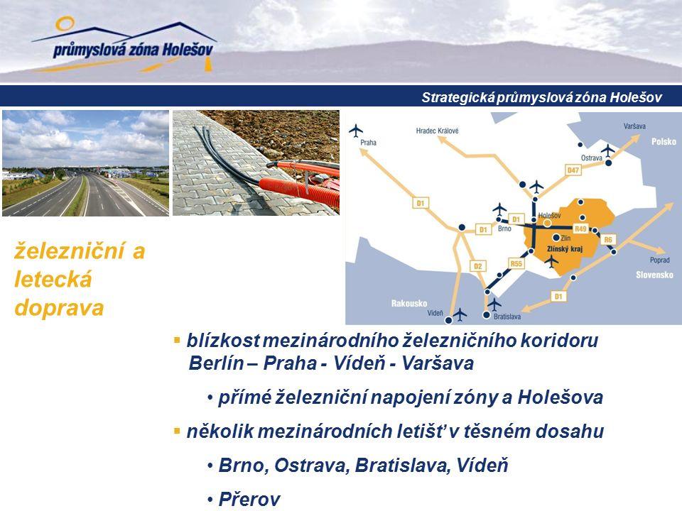železniční a letecká doprava  blízkost mezinárodního železničního koridoru Berlín – Praha - Vídeň - Varšava přímé železniční napojení zóny a Holešova