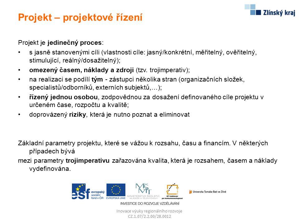 Projekt – projektové řízení Projekt je jedinečný proces: s jasně stanovenými cíli (vlastnosti cíle: jasný/konkrétní, měřitelný, ověřitelný, stimulujíc