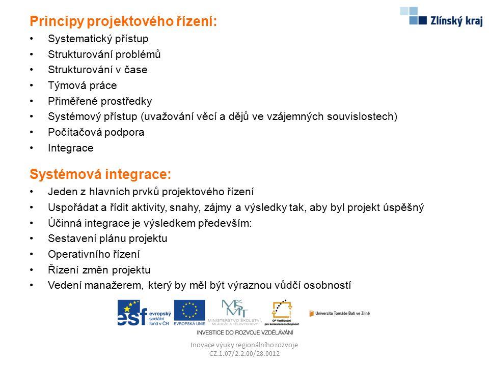 Principy projektového řízení: Systematický přístup Strukturování problémů Strukturování v čase Týmová práce Přiměřené prostředky Systémový přístup (uv