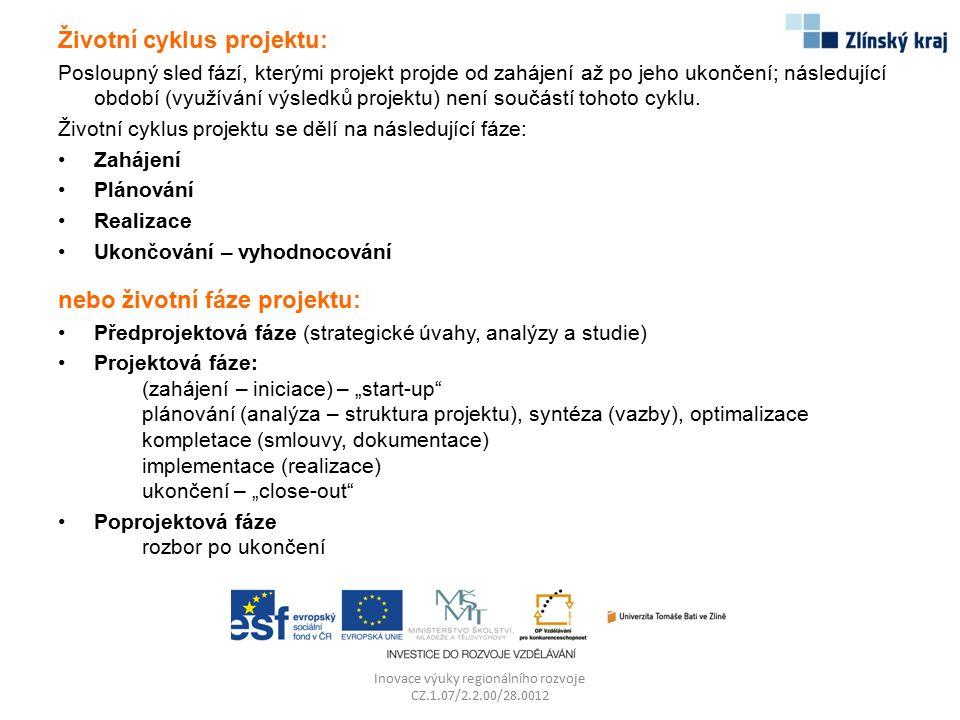 Životní cyklus projektu: Posloupný sled fází, kterými projekt projde od zahájení až po jeho ukončení; následující období (využívání výsledků projektu)