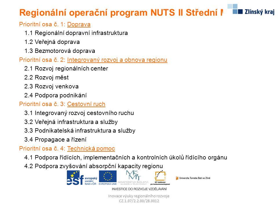 Regionální operační program NUTS II Střední Morava Prioritní osa č. 1: Doprava 1.1 Regionální dopravní infrastruktura 1.2 Veřejná doprava 1.3 Bezmotor