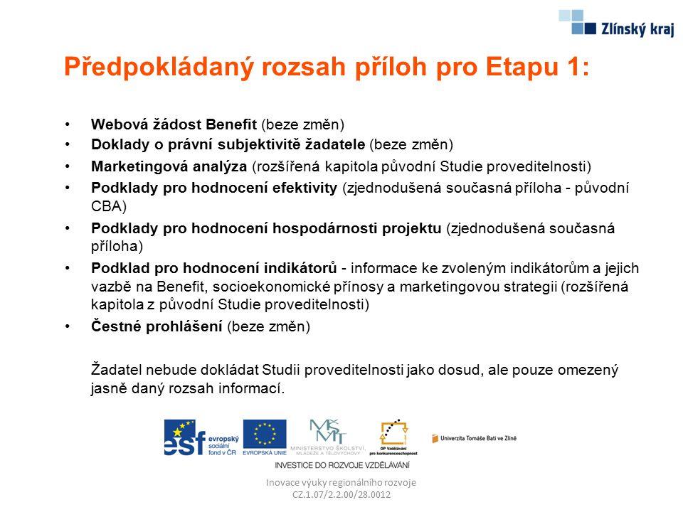 Předpokládaný rozsah příloh pro Etapu 1: Webová žádost Benefit (beze změn) Doklady o právní subjektivitě žadatele (beze změn) Marketingová analýza (ro