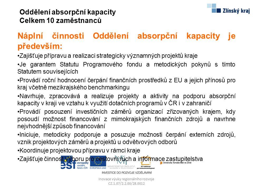 Oddělení absorpční kapacity Celkem 10 zaměstnanců Náplní činnosti Oddělení absorpční kapacity je především: Zajišťuje přípravu a realizaci strategicky