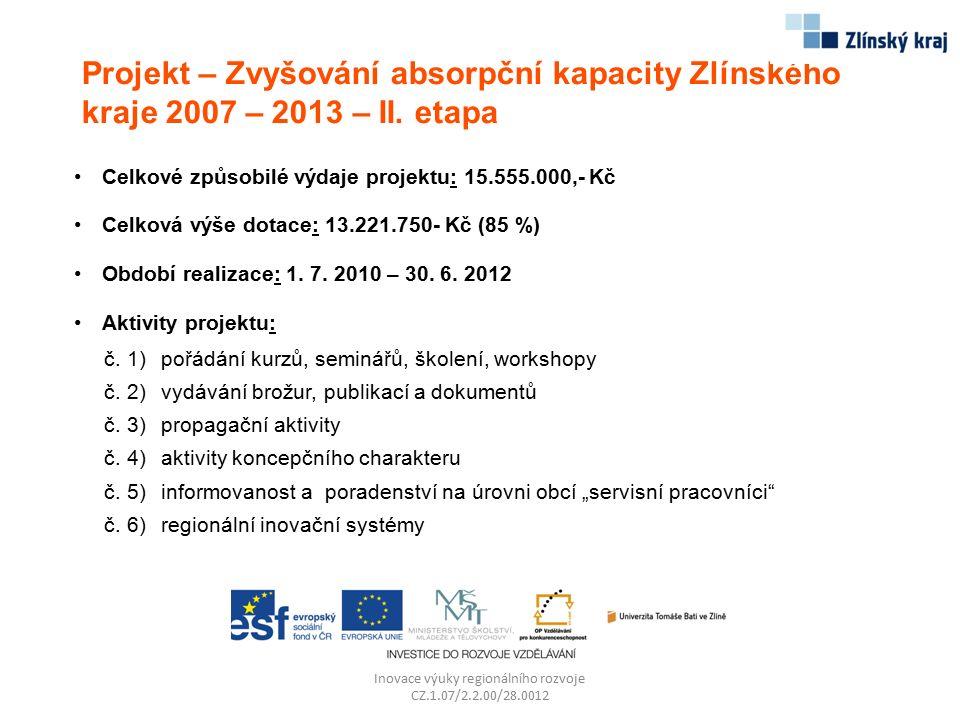 Projekt – Zvyšování absorpční kapacity Zlínského kraje 2007 – 2013 – II. etapa Inovace výuky regionálního rozvoje CZ.1.07/2.2.00/28.0012 Celkové způso