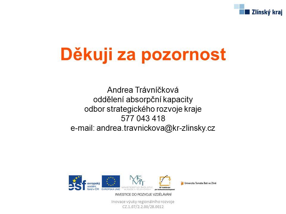 Děkuji za pozornost Andrea Trávníčková oddělení absorpční kapacity odbor strategického rozvoje kraje 577 043 418 e-mail: andrea.travnickova@kr-zlinsky