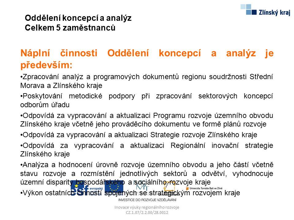 Strategické plánování rozvoje kraje Inovace výuky regionálního rozvoje CZ.1.07/2.2.00/28.0012 Strategie rozvoje Zlínského kraje 2009-2020 v jednotlivých oblastech krajské působnosti je specifikována v koncepčních dokumentech Zlínského kraje, jejichž prostřednictvím kraj definuje klíčové rozvojové problémy a nedostatky a hlavní směry rozvoje v jednotlivých sektorech ve střednědobém až dlouhodobém horizontu, a záměry, které přispějí ke změně a zlepšení současného stavu.