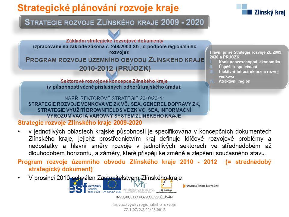 Inovace výuky regionálního rozvoje CZ.1.07/2.2.00/28.0012 Úřad Regionální rady provedl v roce 2010 analýzu všech dosud vyhlášených a administrovaných výzev Východiskem pro návrh nového modelu administrace jsou zkušenosti získané z první fáze realizace programu, nově je uplatněn dvoukolový systém předkládání projektů Hlavním cílem je snížení administrativní i finanční zátěže žadatele v první etapě hodnocení a posouzení potřebnosti projektu v závislosti na strategických rozvojových cílech krajů (např.