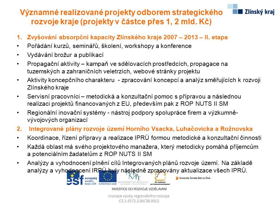 Významné realizované projekty odborem strategického rozvoje kraje (projekty v částce přes 1, 2 mld. Kč) 1.Zvyšování absorpční kapacity Zlínského kraje