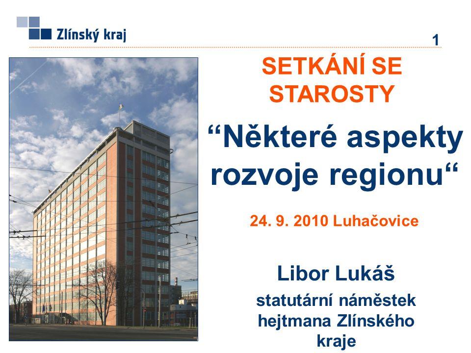 Některé aspekty rozvoje regionu Libor Lukáš statutární náměstek hejtmana Zlínského kraje SETKÁNÍ SE STAROSTY 1 24.