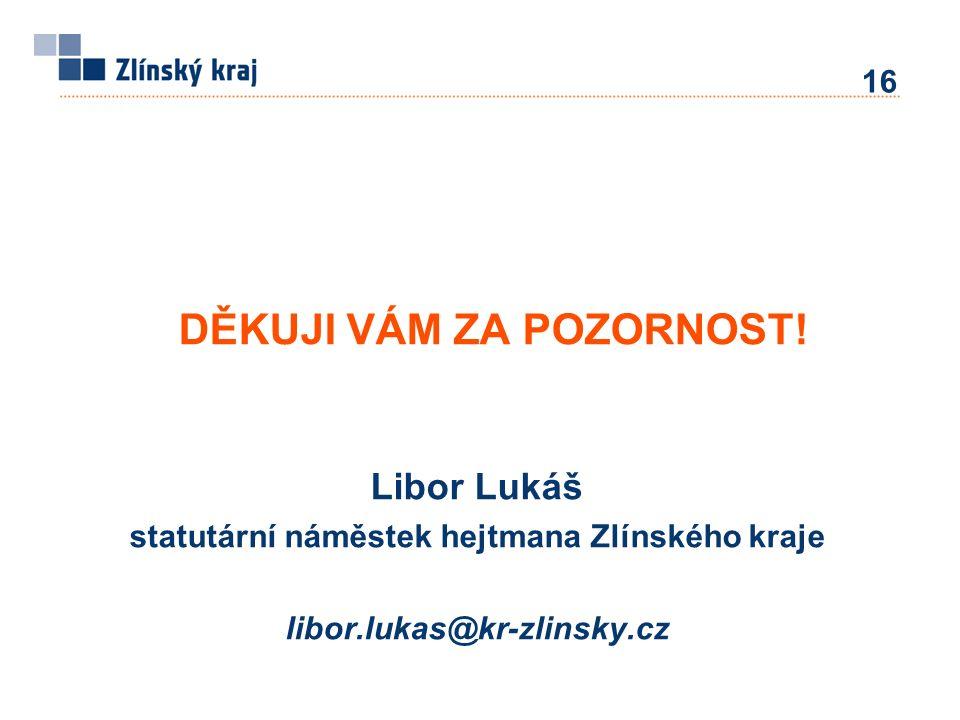 Libor Lukáš statutární náměstek hejtmana Zlínského kraje libor.lukas@kr-zlinsky.cz DĚKUJI VÁM ZA POZORNOST! 16