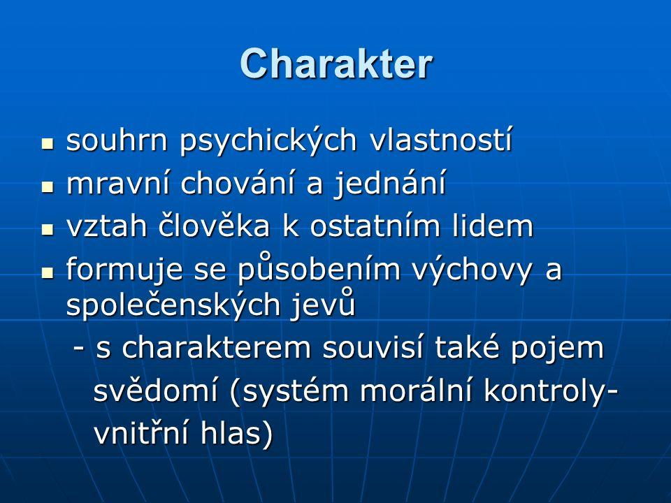 Charakter souhrn psychických vlastností souhrn psychických vlastností mravní chování a jednání mravní chování a jednání vztah člověka k ostatním lidem